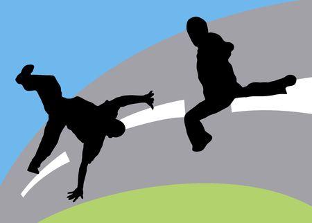 illustration silhouette of dance fight on coloured street background Stock Illustration - 3380959