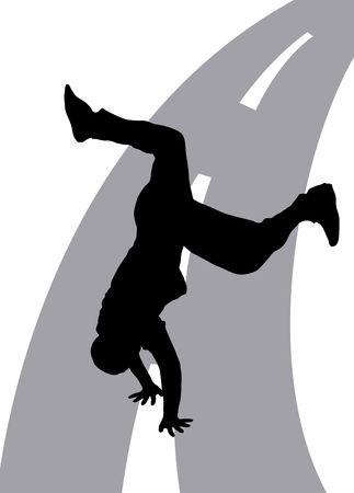 Illustration silhouette of dancer on street background Stock Illustration - 3393354