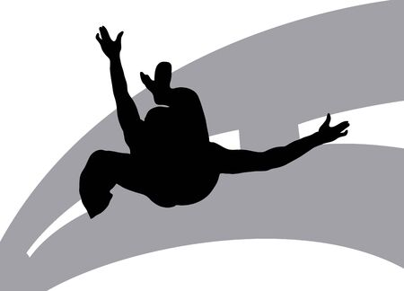 Illustration silhouette of dancer on street background  Stock Illustration - 3393352