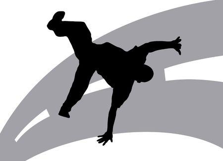 Illustration silhouette of dancer on street background  Stock Illustration - 3393353