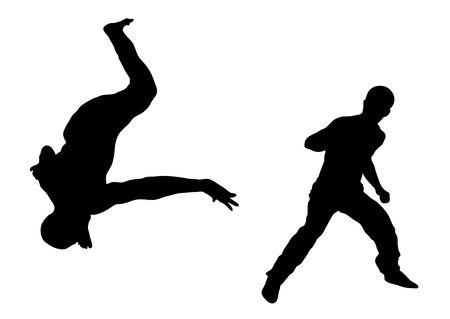 illustration silhouette of street dance fight on white background Stock Illustration - 3467447