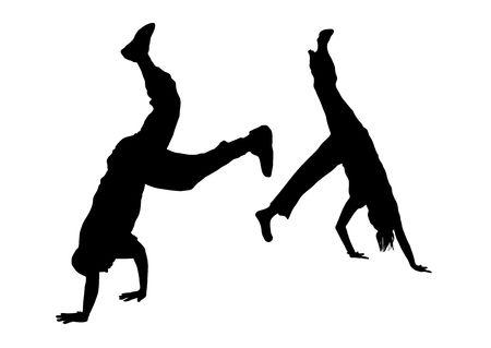 illustration silhouette of street dance fight on white background Stock Illustration - 3467448