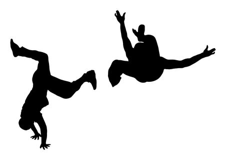 street dance: illustration silhouette of street dance fight on white background