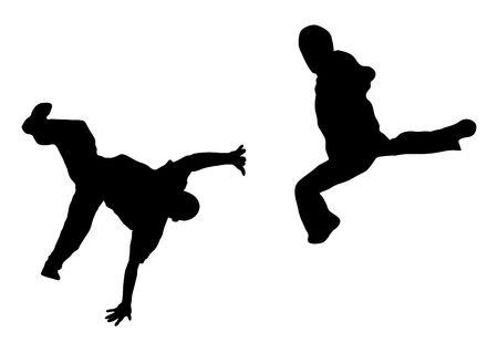 illustration silhouette of street dance fight on white background Stock Illustration - 3467445