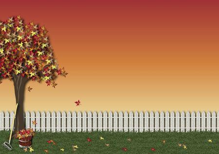 background illustration of autumn scene illustration