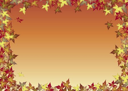 illustration of blank background bordered by fall leaves