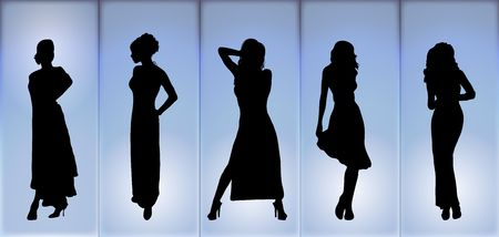 fashion catwalk: silhouettes of women in evening fashion wear