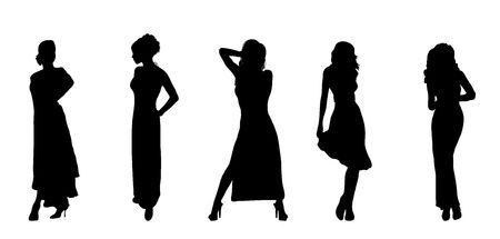 'evening wear': silhouettes of women in evening  wear