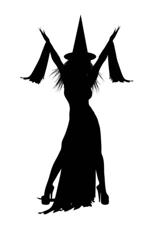 silhouette of Halloween witch on white background Stock Photo - 3491189