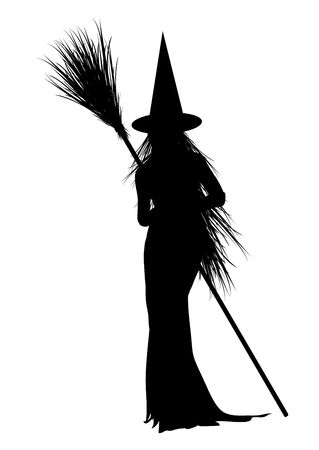 wicked: silhouette of Halloween witch on white background Stock Photo