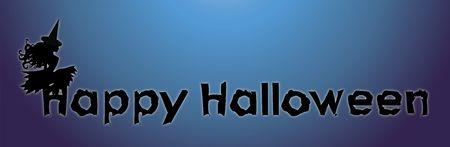 illustration of witch on Happy Halloween sign illustration
