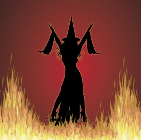 bewitched: illustration of Halloween witch on fire background Stock Photo