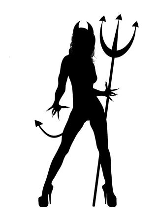 devil horns: illustration of Halloween SheDevil on white background
