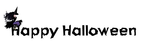 banner craft: illustration of witch on Happy Halloween sign