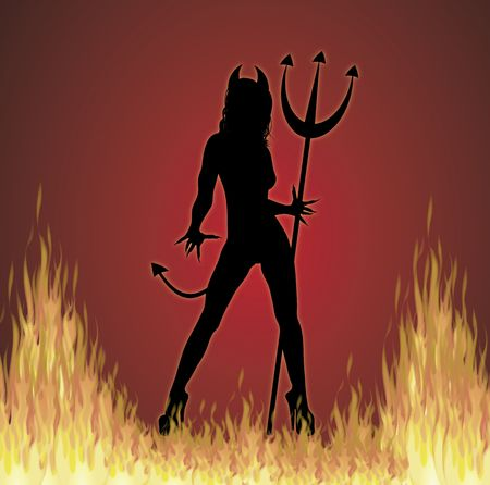 illustration of Halloween SheDevil on fire background