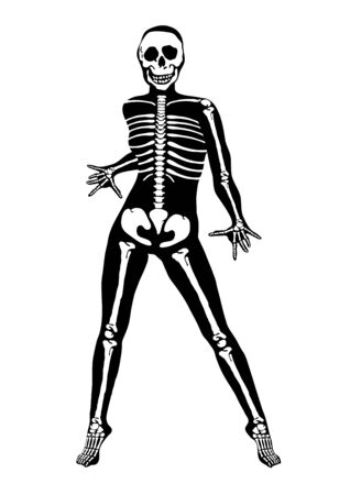 illustration of Halloween skeleton on white background illustration