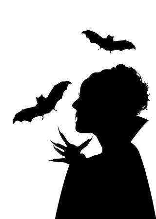 fangs: illustration of Halloween Vampiress on white background
