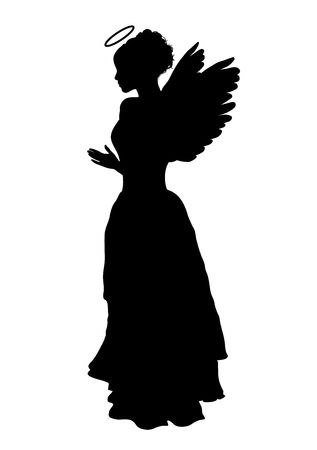 silhouette of angel on white background