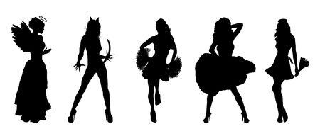 black cheerleader: silhouettes of fun Halloween costumes on white