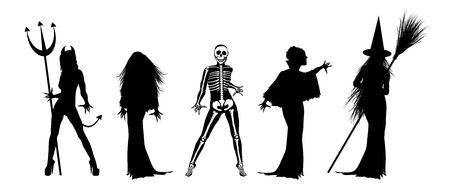 silhouettes of scary Halloween costumes on white Stock Photo