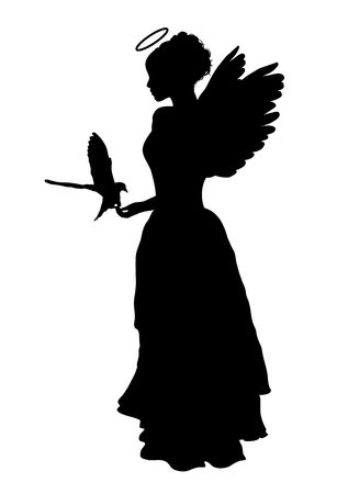 christmas costume: silhouette of angel on white background