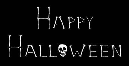illustration of Happy Halloween sign in bones and skull illustration