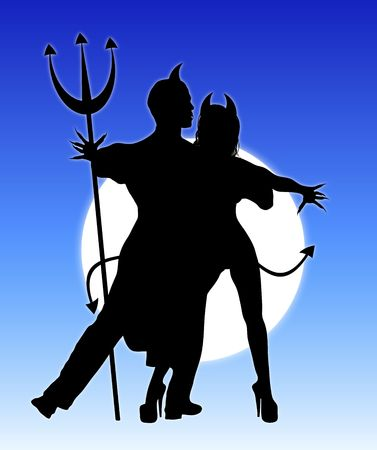 Halloween silhouette of devil couple dancing photo