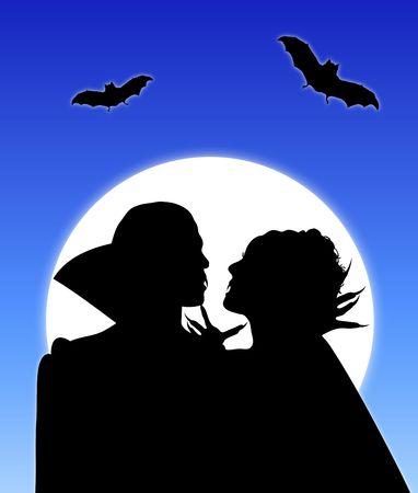 Halloween silhouette of vampire couple embracing Stock Photo