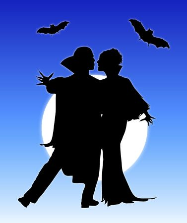 Halloween silhouette of vampire couple dancing photo