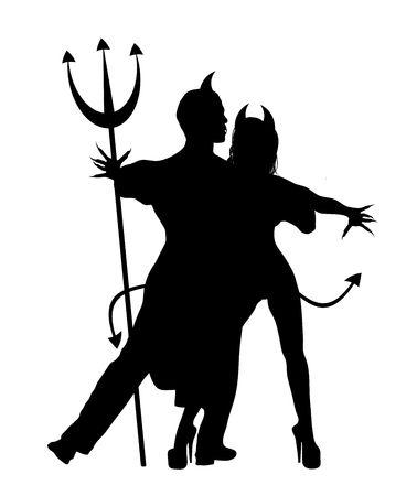 Halloween silhouette of devil couple dancing