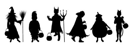 trick or treating: silhouettes of children trick or treating in Halloween costume