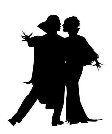 Halloween silhouette of vampire couple dancing Stock Photo