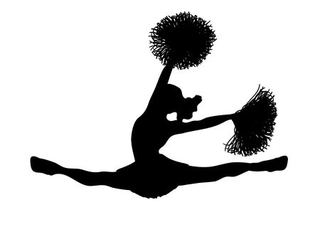 silhouette of cheerleader on white background photo