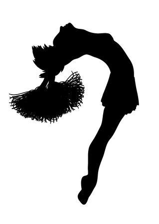 porrista: silueta de animadora en el fondo blanco