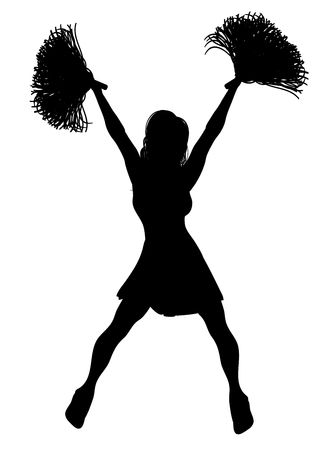 cheerleading squad: silhouette of cheerleader on white background