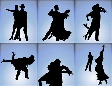 青色の背景に社交ダンスの六つのカップルのシルエット