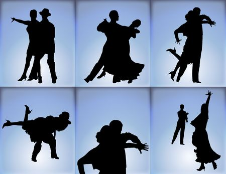 silhouettes of six couples ballroom dancing on blue background