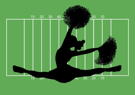 cheerleading squad: silhouette of cheerleader on football field background