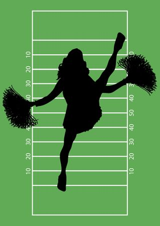 silhouette of cheerleader on football field background photo