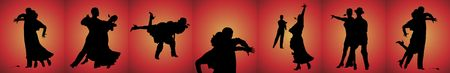 silhouette banner of couples tango dancing on red background