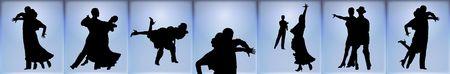 青色の背景に社交ダンスのカップル シルエット バナー 写真素材