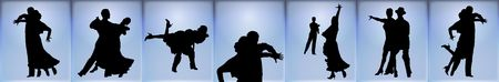 silhouette banner of couples ballroom dancing on blue background