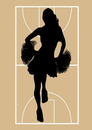 silhouette of cheerleader on basketball court background photo