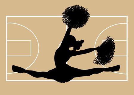 cheerleading squad: silhouette of cheerleader on basketball court