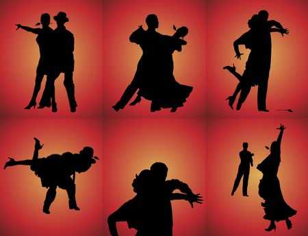 silhouettes of six couples tango dancing on red