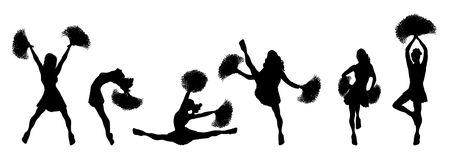silhouettes of cheerleaders in various poses on white