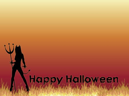 she devil: silhouette of SheDevil with Happy Halloween on fire background Stock Photo