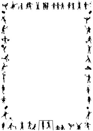 silhouette border of young children playing various activities