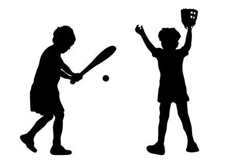 silhouette of children playing baseball Stock Photo