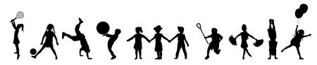 silhouette banner of children playing various activities Stock Photo